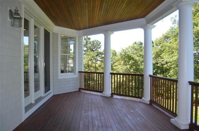 The covered porch at 46 Equestrian Lane in Falmouth.